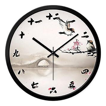 GZLIUXM Reloj De Pared Ikea Reloj De Pared Sala De Estar Madera Maciza Gráficos De Pared ...