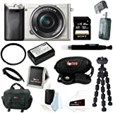 Sony Alpha a6000 24.3 MP Interchangeable Lens Camera with 16-50mm Power Zoom Lens (Silver) + Sony 32GB SD Card + Replacement NP-FW50 Battery for Sony + Tiffen 40.5mm UV Protector Filter + Accessory Kit