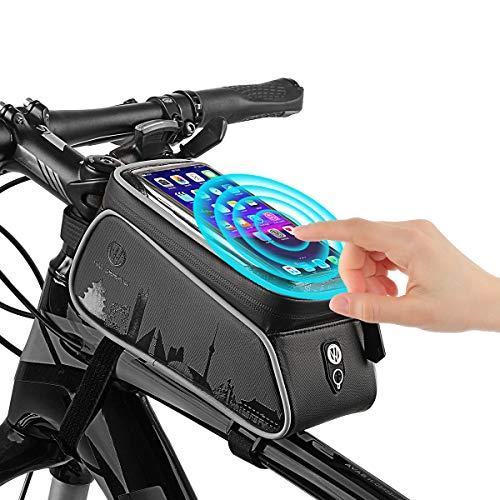 TecTri Bicycle Bags Bike Front Storage Bag Handlebar Bags Cycling Top Tube Phone Bag Frame Handlebar Tool Bicycle Bag Zipper Waterproof Touch Screen Mobile Phone Bags