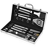 INTEY BBQ Grill Tools Set with 19 Pieces Barbecue Accessories Stainless Steel Utensils with Aluminum Case for Outdoor Camping Picnic