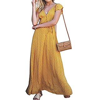 MCCKLE Women's Casual Polka Dot Deep V-Neck Dresses Short Sleeve Wrap Long Maxi Sundress Yellow L