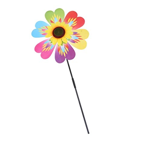 C2K Large Sunflower Windmill Wind Spinner Garden Single Wheel Decorative Kid Toy