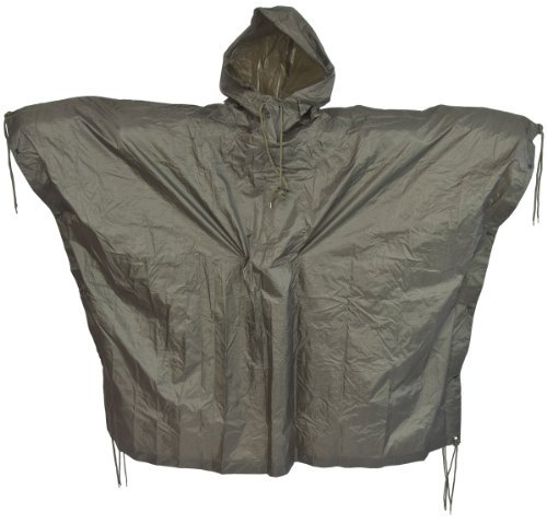 Men's US Waterproof Ripstop Hooded Nylon Festival Poncho in Olive Green