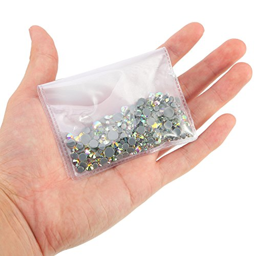 WILLBOND 1000 Pieces Mixed Size Hot Fix Round Crystals Gems Glass Stones Hotfix Flat Back Rhinestones 1.5-6 MM (Crystal AB Color)