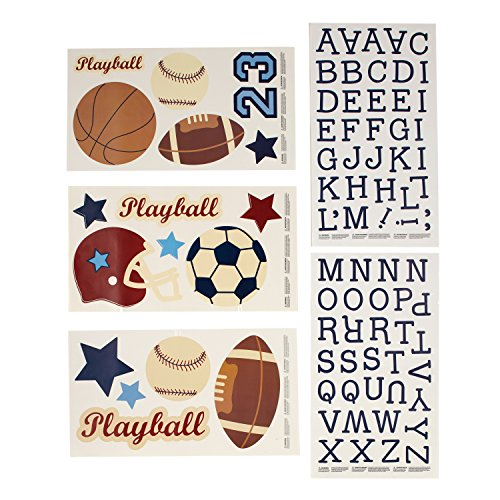 - NoJo Play Ball, Wall Decals, Navy/Red/Indigo/Ivory/Brown