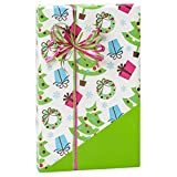 Trendy Trees (Reversible) 24in.x417ft. Gift Wrap Counter Roll - 1 Roll