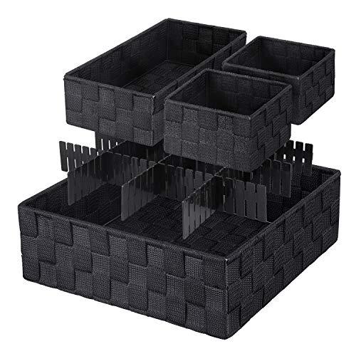 KEDSUM Woven Storage Box Cube Basket Bin Container - Tote Cube Organizer Divider for Drawer, Closet, Shelf, Dresser, Set of 4 -