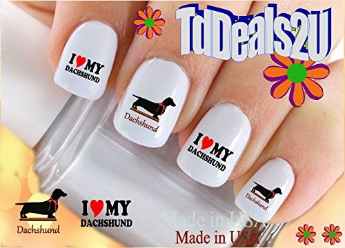dog-breed-dachshund-i-love-nail-decals-waterslide-nail-art-decals-highest-quality-made-in-usa