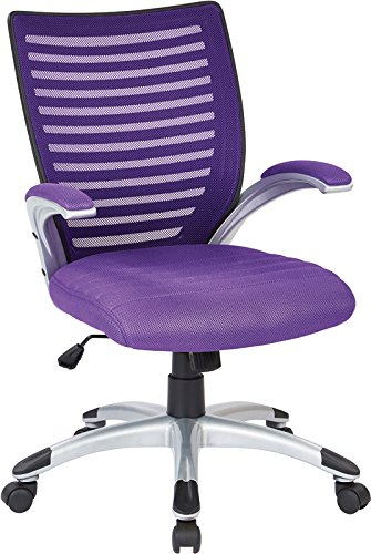 Work Smart EMH69096-512-osp Mesh Seat and Screen Back Managers Chair, Purple ()