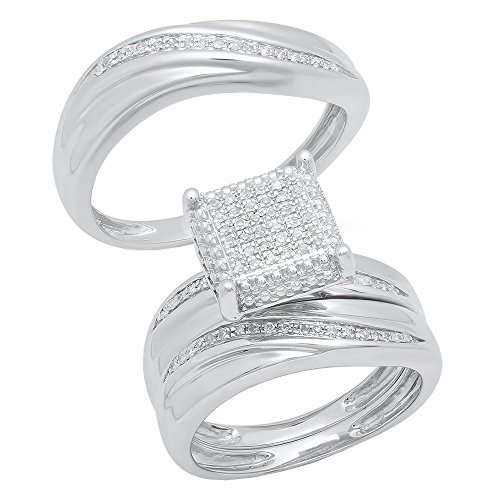 Dazzlingrock Collection 0.25 Carat (ctw) Round Diamond Men's & Women's Micro Pave Ring Trio Set 1/4 CT, Sterling Silver