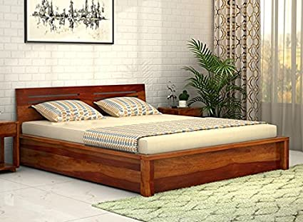 30a021ec38 Image Unavailable. Image not available for. Colour: Lifeestyle Wooden Box  Bed,Bed With Storage Sheesham Wood Queen Size ...