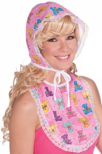 Forum Novelties Women's Big Baby Oversized Costume Bib and Bonnet Set, Pink, One Size