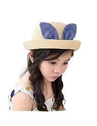 Straw Bowler Hats Child Girls Cartoon Ribbon Outdoor Beach Spring Summer Sun Hat