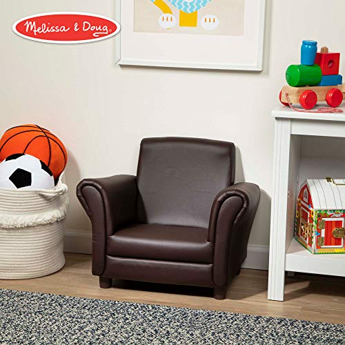 - Melissa & Doug Child's Armchair, Coffee Faux Leather (Children's Furniture, Armchair for Kids, Sturdy Construction, 18.3