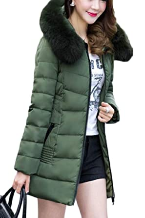 ea53dfe89 Amazon.com: Smeiling Womens Winter Thick Slim Fit Thick Faux Fur Hooded  Down Puffer Jacket: Clothing