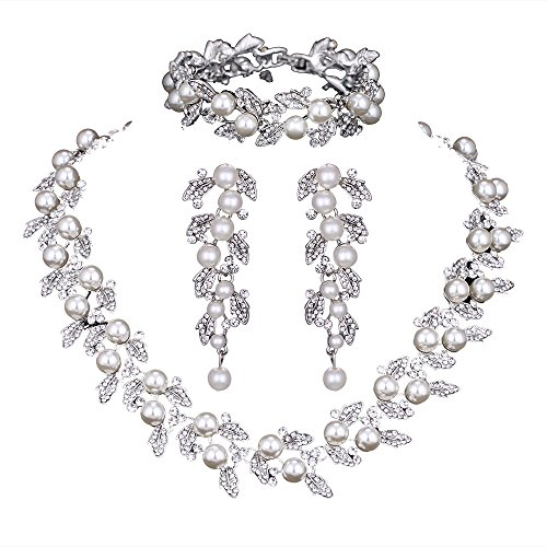 Pearl Leaf Wedding Bridal Crystal Jewelry Sets for Women (1 Set Earrings,1 PCS Necklace,1 PCS Bracelet)