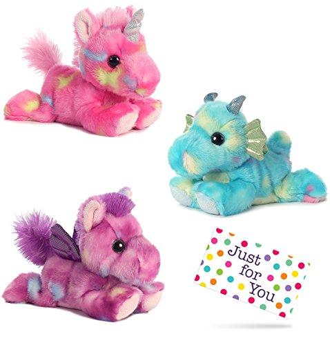 J4U Jellyroll Unicorn, Sprinkles Dragon, and Tutti Frutti Pegasus Bright Fancies Plush Beanbag Animals Set with Gift Tag - Animal Bean Bag Set