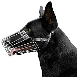 BronzeDog German Shepherd Dog Muzzle Wire Metal Basket Adjustable Leather Muzzle for Large Dogs 18