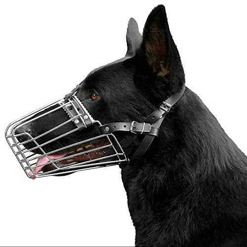 BronzeDog German Shepherd Dog Muzzle Wire Metal Basket Adjustable Leather Muzzle for Large Dogs (Size 1)