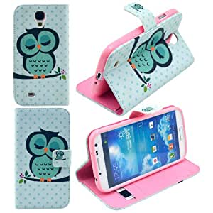 Harryshell Cute Sleeping Owl Design Magnetic Flip Pu Leather Wallet Cards Holder Stand Case Cover for Samsung Galaxy S4 I9500 with Free Screen Protector and Stylus Pen (002)