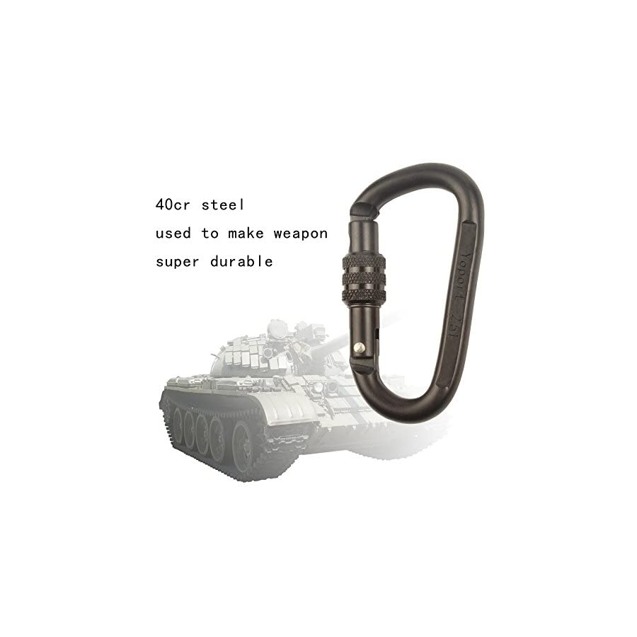 Yoport 35KN Rescue Figure 8 Descender & 2 25KN Screwgate Locking Climbing Carabiners, Outdoor O ring Hook Rappel Device for Rappelling Belaying Rock Climbing