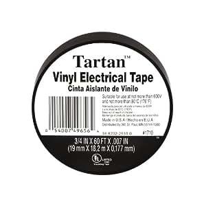 Tartan Vinyl Plastic Electrical Tape, Black, .75-Inch by 60-Feet (1710)