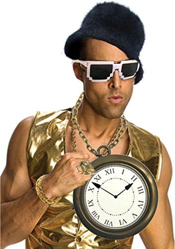 [80's Flav Rapper Flavor Gold Jewelry Clock Necklace Sunglasses And Mic Bundle] (Flavor Flav Costume Halloween)