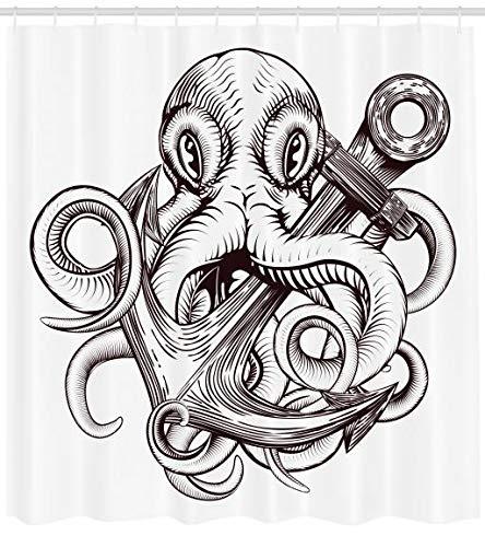 ABAKUHAUS Ancla Cortina de Baño, Diseño del Tatuaje del Pulpo ...