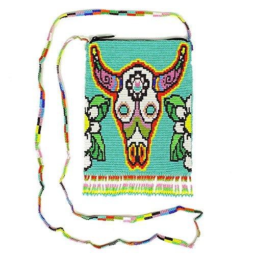 "BG610 Rare Painted Western Desert Skull Purse Glass Beaded Bag Design Guatemala from ""Handmade"""