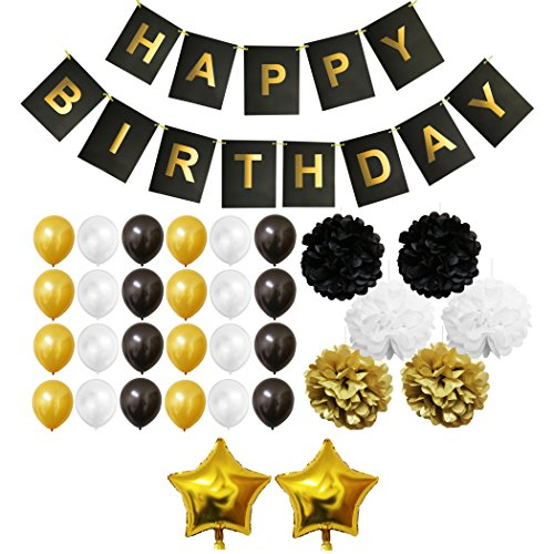 BELLE VOUS 33 Piece Gold, White and Black Birthday Balloons Set - Party Supplies Birthday Decoration Kit - Happy Birthday Banner - Latex Balloon Decoration - Pom Poms - Foil & Star Balloons ()