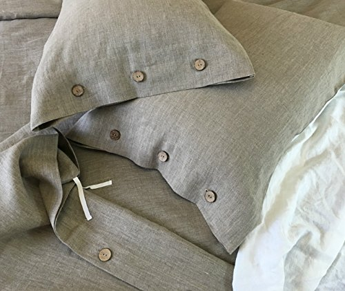 a3a1dc8d802 Amazon.com  A pair of Dark Linen Pillow Cases with Wood Button Closure