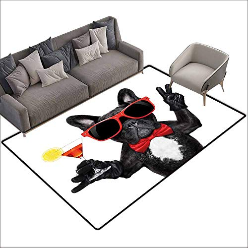 Children's Rug Funny French Bulldog Holding Martini Cocktail Ready for The Party Nightlife Joy Print Easy to Clean Carpet W6' x L8'10 Black Red White]()
