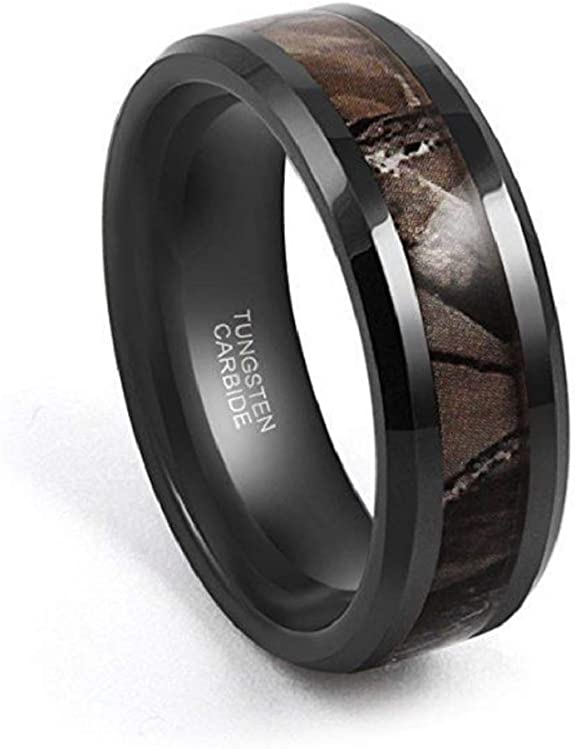 8MM Black IP with Green /& Black Carbon Fiber Inlay Tungsten Ring Men Women Tungsten Wedding Band Custom Engraved Personalized Ring