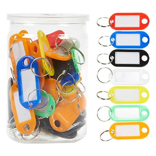 50 Piece Set Keyring Cover Plastic Tag - Small Size Multi-Colored Keyring...