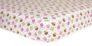Trend Lab Print Flannel Crib Sheet, Owl