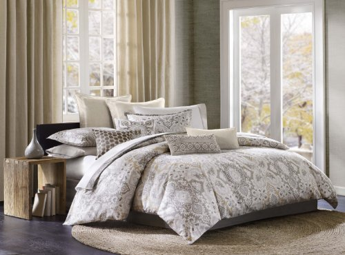 Echo Design Odyssey Queen Size Bed Comforter Set - Grey, Paisley - 4 Pieces Bedding Sets - 100% Cotton Bedroom Comforters