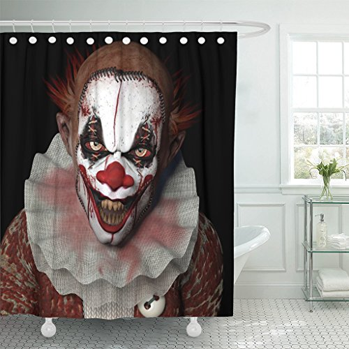 TOMPOP Shower Curtain Scary Scarier Clown Sharp Pointy Teeth Glaring at You Waterproof Polyester Fabric 72 x 72 Inches Set with Hooks -