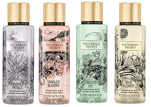 Victoria's Secret Set of 4 Fragrance Mist: Crushed Petals, Tangled Blooms, Twisted Ivy, Wild Flower