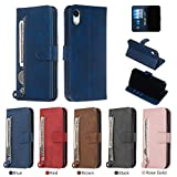 For iPhone XR Flip Case with Zipper Card Holder/Slot, HengJun Pu Leather Magnetic Closure Kickstand Wallet Full Cover Complete Protection for iPhone XR 6.1 inch - Blue