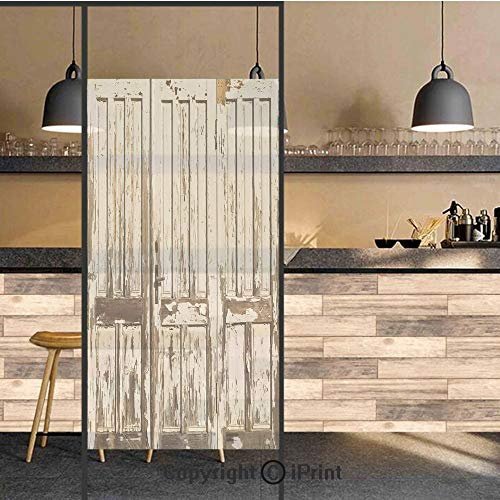 3D Decorative Privacy Window Films,Vintage House Entrance with Vertical Lined Old Planks Distressed Hardwood Design,No-Glue Self Static Cling Glass Film for Home Bedroom Bathroom Kitchen Office 24x48 ()