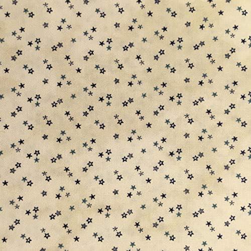 Tela por metros para Patchwork - 100% algodón - 110 cm ancho - Largo a elección de 50 en 50 cm | Estrellas. Beige, azul: Amazon.es: Hogar