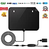HDTV Antenna【2018 New Version】 50 Miles Range Digital Indoor TV Receiver with Detachable Amplifier, USB Power Supply and Coax Cable, Full 360° Reception Free 1080P 4K