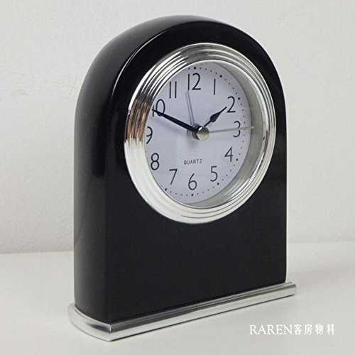 W&lx Solid wood alarm clock, Baking paint mute Hotel bedside clock Night light function Upright alarm clock-black