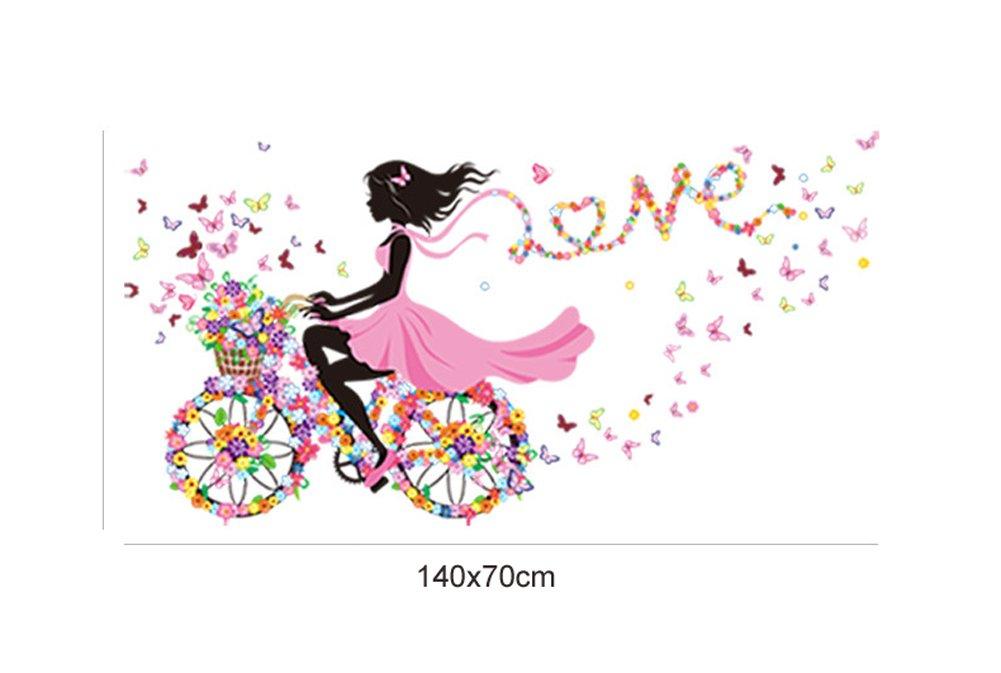 Bambini Camera Vivai DIY Arte Decorativo Adesivo Murale Wallpark Romantico Rosa Fiore Farfalla Fata Ragazza Sella a una Bici Fiore Removibile Adesivi Murali Adesivi da Parete