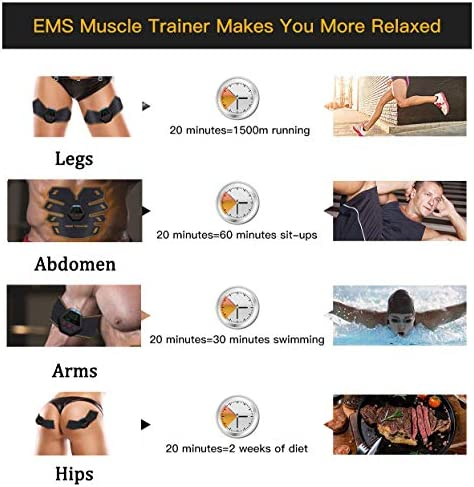 UMATE Abs Stimulator Muscle Toner, Portable Muscle Trainer,Abdominal Trainer,Abdominal Muscle Toner Fitness Training Gear with LCD Display for Men/Women 6