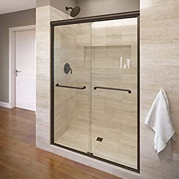 Basco Infinity Semi-Frameless Sliding Shower Door, Fits 44- 47 inch opening, AquaGlideXP Clear Glass, Oil Rubbed Bronze Finish