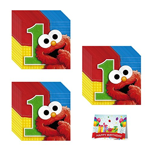 Sesame Street 1st Birthday Party Beverage Napkins Bundle Pack of 48 ()