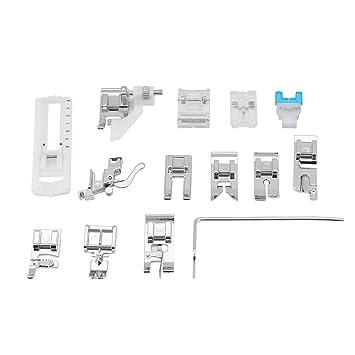 Kit de prensatelas de 14 piezas para máquina de coser casera de bajo vástago enrollado