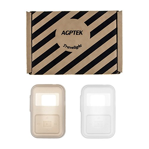 Silicone Skin Case Cover for AGPTEK A26, A12 MP3 Player, Shockproof and Durable, 2pcs in White and (Full Tawny Port)