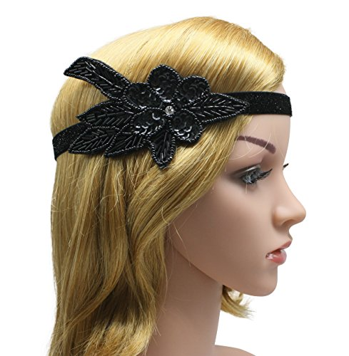 Zivyes Black Vintage 1920s Headband Flapper Gatsby Headpiece Women Rose Flower Bead